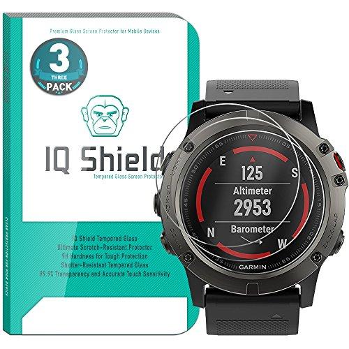 Garmin Fenix 5X Screen Protector (3-Pack), IQ Shield Tempered Ballistic Glass Screen Protector for Garmin Fenix 5X 99.9% Transparent HD and Shatter-Proof Shield