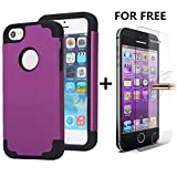 iPhone SE Cases, NOKEA 2in1 Hybrid Case for Iphone 5S. Hard Cover for Iphone 5 Printed Design Pc+ Silicone Hybrid High Impact Defender Case Combo Hard Soft with Free Tempered Glass (Purple Black)