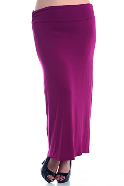 cea1cdb28fc1a Stylzoo Women s Plus Size Classic Solid Rayon Maxi Stretchy Comfy Skirt  Berry 1X