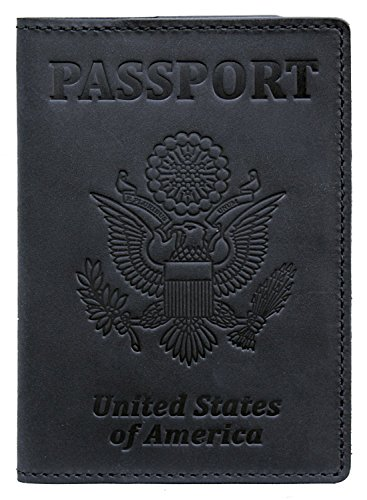 US Passport Holder Cover Travel Wallet Case - Genuine Leather ID Organizer - Card Slots - for Men Women (Black Vintage)