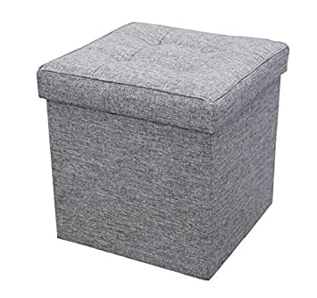 Ottoman with Storage Square Padded Seat Foot Rest, Foldable 15 x 15 Grey