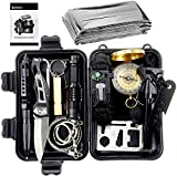 ACEIken Birthday Day Gifts for Him Husband Men Boyfriend Boys,Emergency Survival Kit 13 in 1 Outdoor Survival Gear Tool with Survival Bracelet, Small Flashlight, Emergency Blanket Whistles