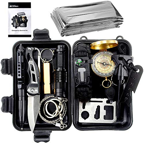 ACEIken Birthday Day Gifts for Him Husband Men Boyfriend Boys,Emergency Survival Kit 13 in 1 Outdoor Survival Gear Tool with Survival Bracelet, Small Flashlight, Emergency Blanket Whistles ()