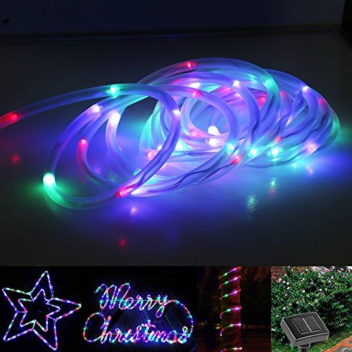 SZMINILED 33ft 100leds Solar Rope Lights RGB Waterproof Outdoor Tube Neon Lights Ideal for Christmas,gardens, Lawn, Patio, Weddings, Parties
