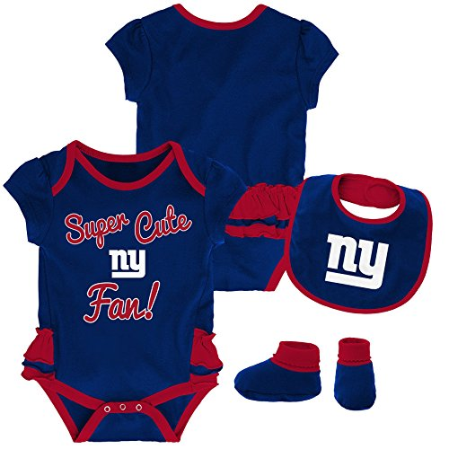 NFL by Outerstuff NFL New York Giants Newborn & Infant Mini Trifecta Bodysuit, Bib, and Bootie Set Dark Royal, 24 Months ()