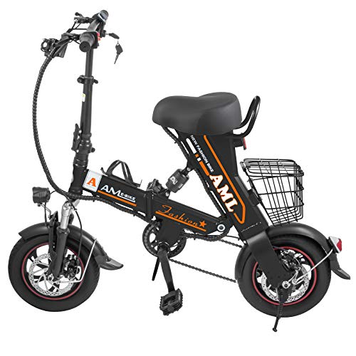Mophorn Foldable Electric Bike with Basket 36V 12AH Folding Electric Bicycle 400W Powerful Motor E-Bike with 27-34 Miles Range Dual-Disc-Brakes Black