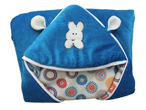 My NewBorn Sky Blue Velvet and Fleece Hooded Baby Blankets – Set of 3
