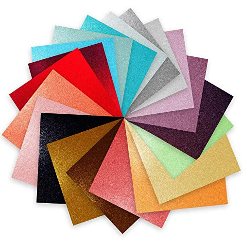 Craftopia glitter self adhesive vinyl sheets 6 x 6  20 pack assortment craft vinyl for cricut silhouette cameo craft cutters, stick to glass plastic metal and more use our high tack transfer paper