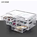 LVV Home Acrylic Desktop Cosmetic Storage Box/Three Layers Drawer Style Silicone Anti-Skid pad Transparent osmetic case