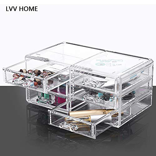 LVV Home Acrylic Desktop Cosmetic Storage Box/Three Layers Drawer Style Silicone Anti-Skid pad Transparent osmetic case by Hotin (Image #7)