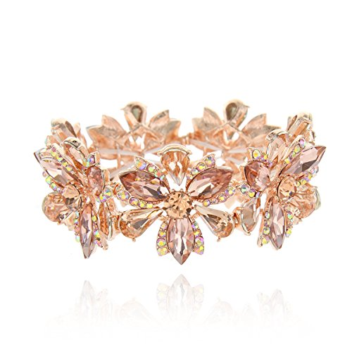 (SP Sophia Collection Women's Flower Blossom Glass Stone Fashion Stretch Bracelet in Peach)