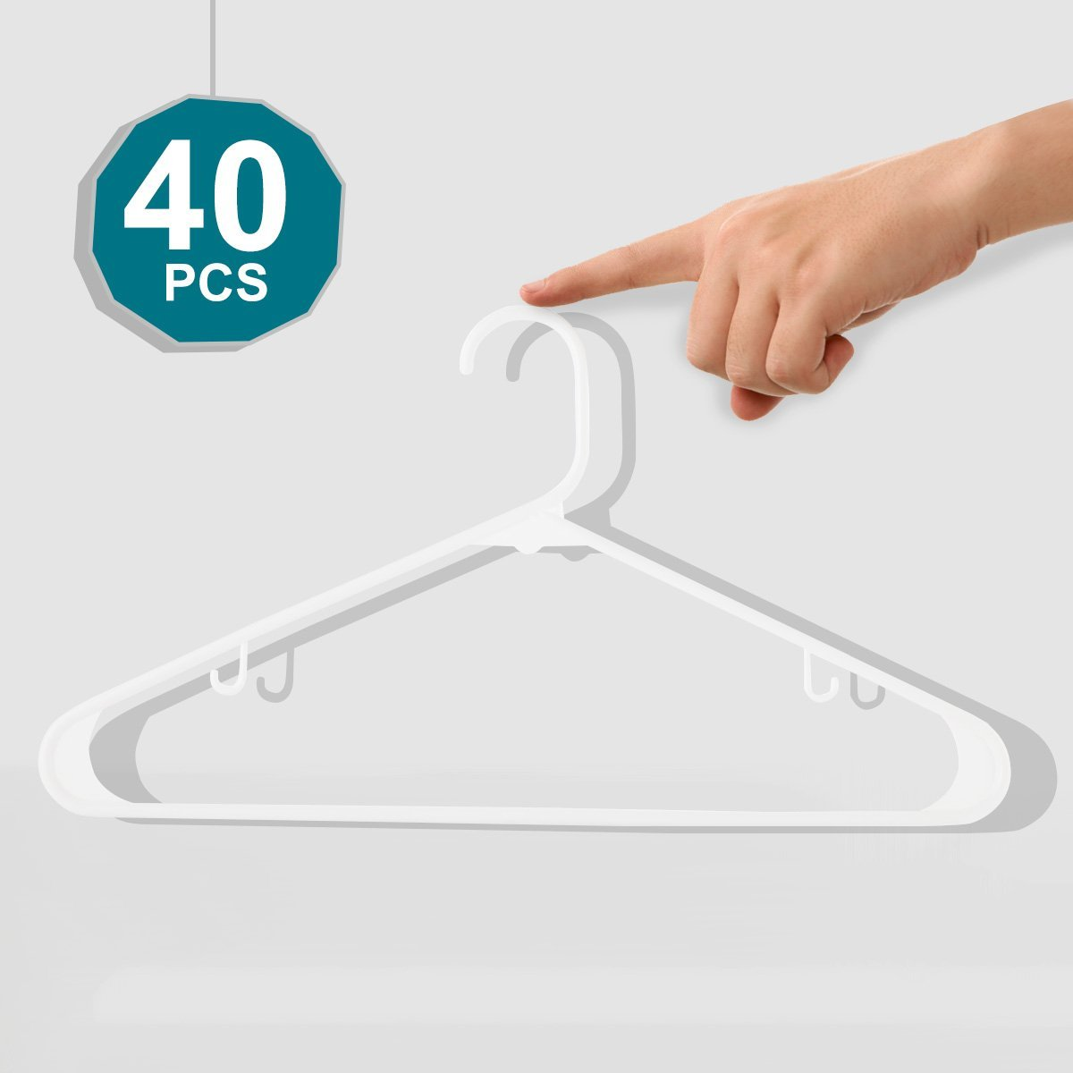 White Plastic Hangers,Everyday Standard Tubular Hangers,Premium Quality Heavy Duty Hangers,Durable and Strong Clothes Hangers,Adult Stylish Simple Suit hangers,Perfect for Shirt,Coat,Dress Pack of 40 by Realcozy