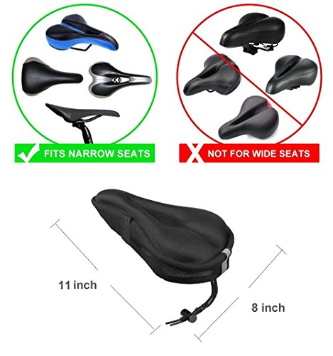Bike Seat Cushion Cover, ELINP Soft Gel Exercise Bicycle Saddle Cushion Cover with Reflector Strips for Women Men, Fits for Mountain / Cruiser / Stationary / Spinning Bikes, Indoor Cycling