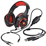 Stereo Gaming Headset for PS4 Xbox One, Beexcellent 3.5mm Bass Over Ear PC Gaming Headphones with Mic/Surround Sound/Noise Isolation/Volume Control/LED Light for Laptop/Mac/iPad/Smartphone/Computer