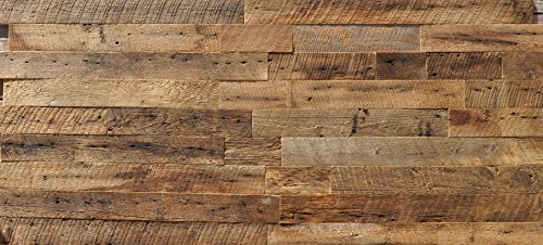EAST COAST RUSTIC Reclaimed Barn Wood Wall Panels - Easy Install Rustic Wood DIY Wall Covering for Feature Walls (20 Sq Ft - 3.5'' Wide, Brown Natural) by East Coast Rustic (Image #1)