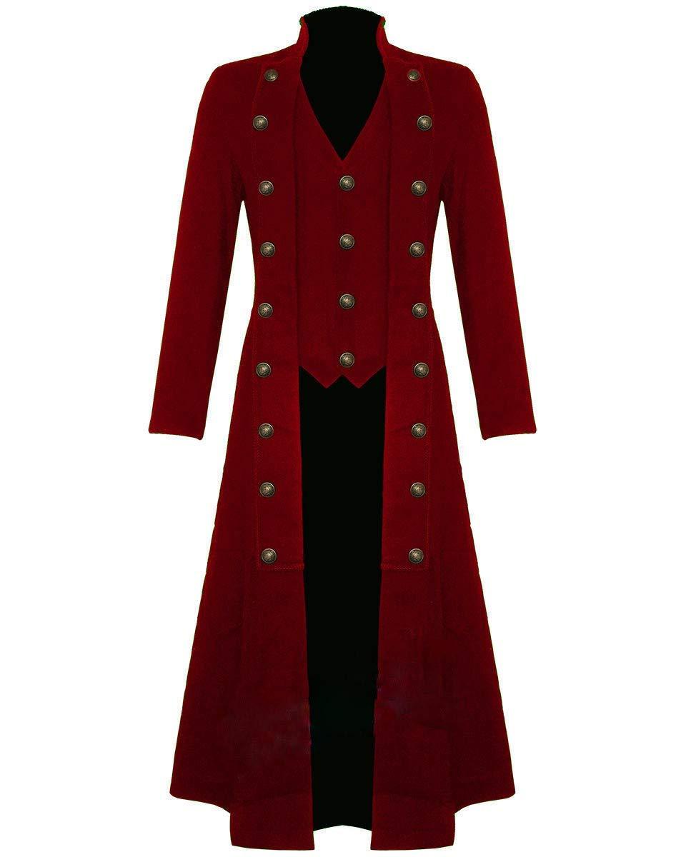 Darkrock Men's Cotton Twill Steampunk Jacket Goth Victorian/Military Style Trench Coat/USA Design/USA Sizes/Black,Red & Blue 5