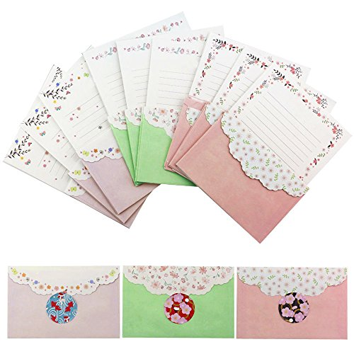 Bolbove Lovely Flower Cute Butterfly Stationery 54 Writing Paper Sheets & 27 Envelopes + 27 Seal -
