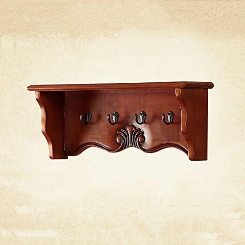 ZEMIN コートラック 壁掛けコートラック衣服帽子スタンドハンガーホルダーシェルフ装飾4フックソリッドウッド、55 * 22 * 15CM (色 : 赤茶色)