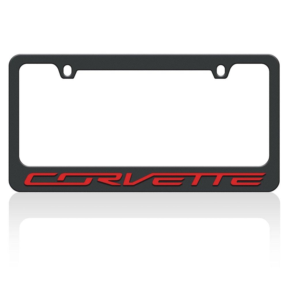 C7 Corvette Stealth License Plate Frame Black with Black Corvette Script Eurosport