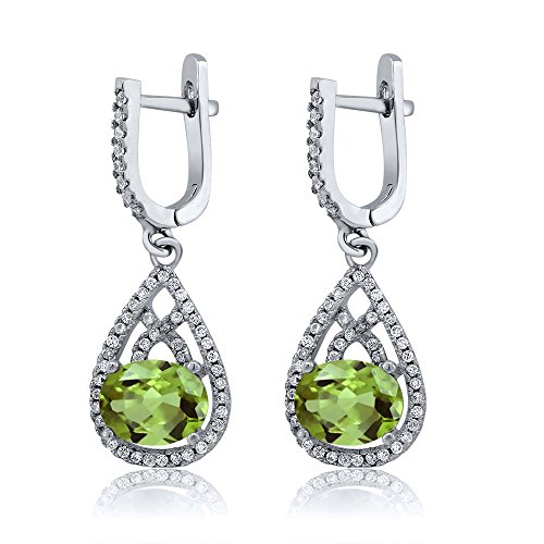 9x7 Oval Earrings (4.14 Ct Oval 9X7MM Green Peridot 925 Sterling Silver Dangling Earrings)