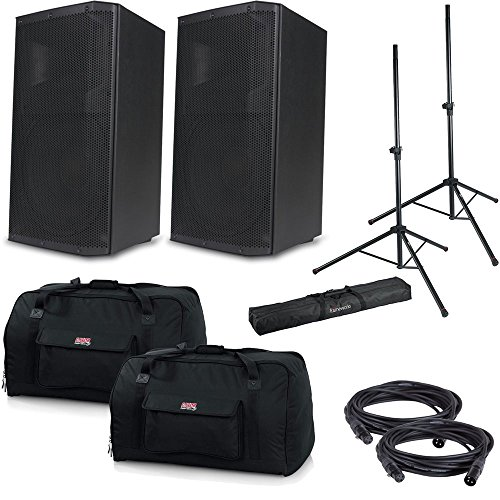 American Audio ATX-15W Powered Speakers w/Gator Totes & Stands