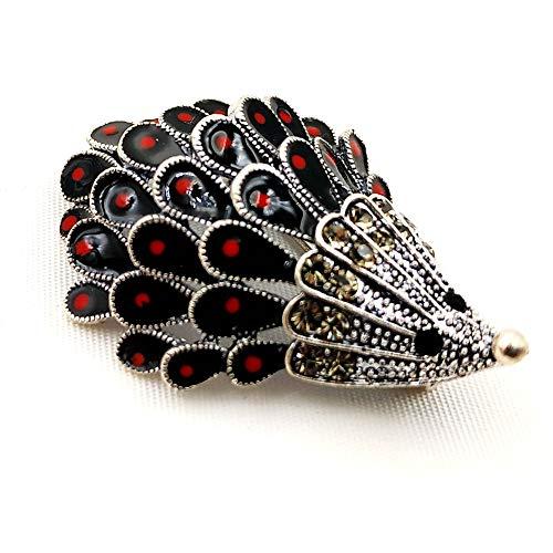 DREAMLANDSALES Vintage Inspiration Silver Tone Enameled Hedgehog Brooch Pin Lovely Animal Jewelry -