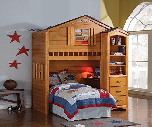 Amazon Com Acme 10160 Tree House Loft Bed Rustic Oak