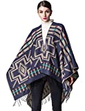 Women's Knitted Cardigan Warm Sweater Blanket Pashmina Shawls and Wraps Sleeveless Cashmere Scarf Open Front Large Poncho Cape Coat xxxl Navy Blue