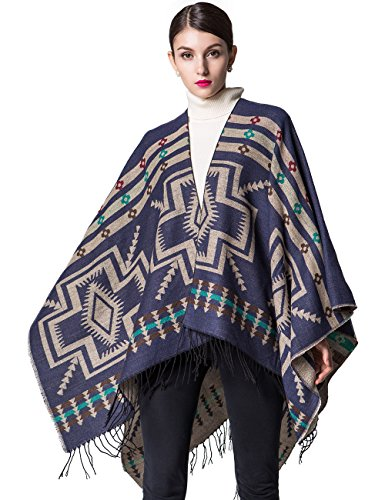 Women's Knitted Cardigan Warm Sweater Blanket Pashmina Shawls and Wraps Sleeveless Cashmere Scarf Open Front Large Poncho Cape Coat xxxl Navy Blue ()