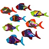 "Small Plush Shiny Colored Fish Toy For Kids ""Value Pack Of 8"""