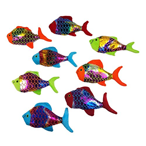 Small Plush Shiny Colored Fish Toy For Kids