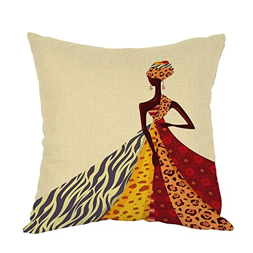 Moslion African Girl Pillow,Home Decor Throw Pillow Cover African Women Posing with Colorful Dress Cotton Linen Cushion for Couch/Sofa/Bedroom/Livingroom/Kitchen/Car 18 x 18 inch Square Pillow case