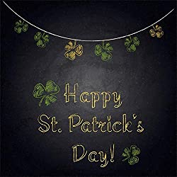 AOFOTO 8x8ft Happy St.Patrick's Day Background Clover Shamrock Handwritten Words Blackboard Abstract Photography Background for Festival Celebration Portraits Shooting Holiday Vinyl Photo Booth Prop