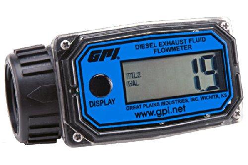 GPI 113255-24, 01N31GM-U Nylon Turbine DEF Flowmeter with Digital LCD Display, 3-30 GPM, 1-Inch FNPT ()