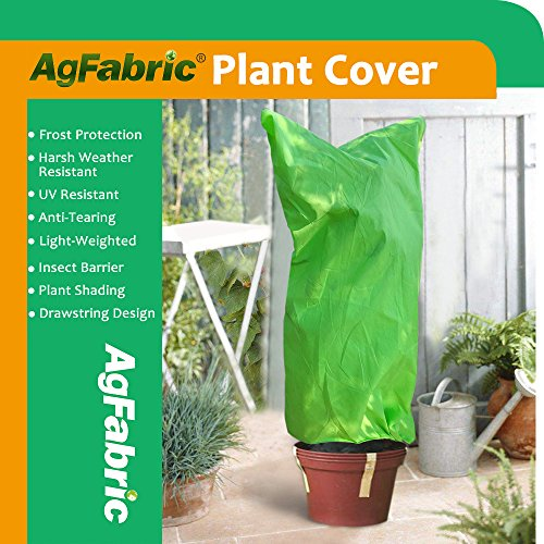 "Agfabric Plant Cover Warm Worth Frost Blanket -2.0 oz Fabric of 40""x60"" Shrub Jacket,Rectangle Decorative Plant Cover for Season Extension&Frost Protection,Light Green"