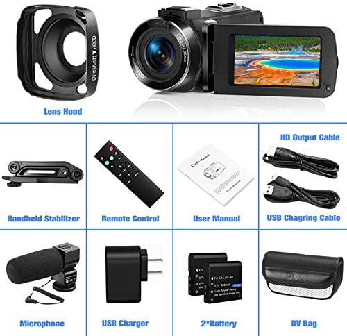 Video Camera Ultra 2.7K Camcorder HD 36MP Digital Vlogging Recorder with IR Night Vision and 16X Digital Zoom Equipped with Touchable Screen, External Microphone, Remote Control and Batteries integrated