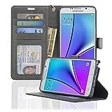 Samsung Galaxy Note 5 Case NAVOR® Wallet Case Card Slots, Money Pocket - Gray