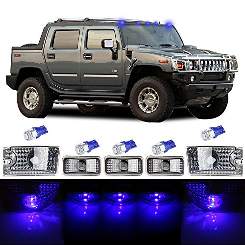 ht Top Roof Marker Light 5pcs Blue Marker Light Replacement fit for 2003-2009 Hummer H2 ()