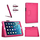 Invero Apple iPad Pro 12.9' 2015 Model Slim Multi-Function Leather Case Cover with Integrated Typing Stand, Magnetic Closure Wake/Sleep Function Includes Screen Protector, Stylus Pen, Micro Fibre Cloth and Application Card - Pink
