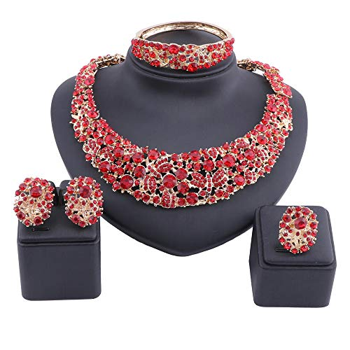 OUHE Jewelry Sets for Women Crystal Inlay Necklace Earrings Ring Bracelet Bridesmaid Costume Show Wedding (Gold Red)