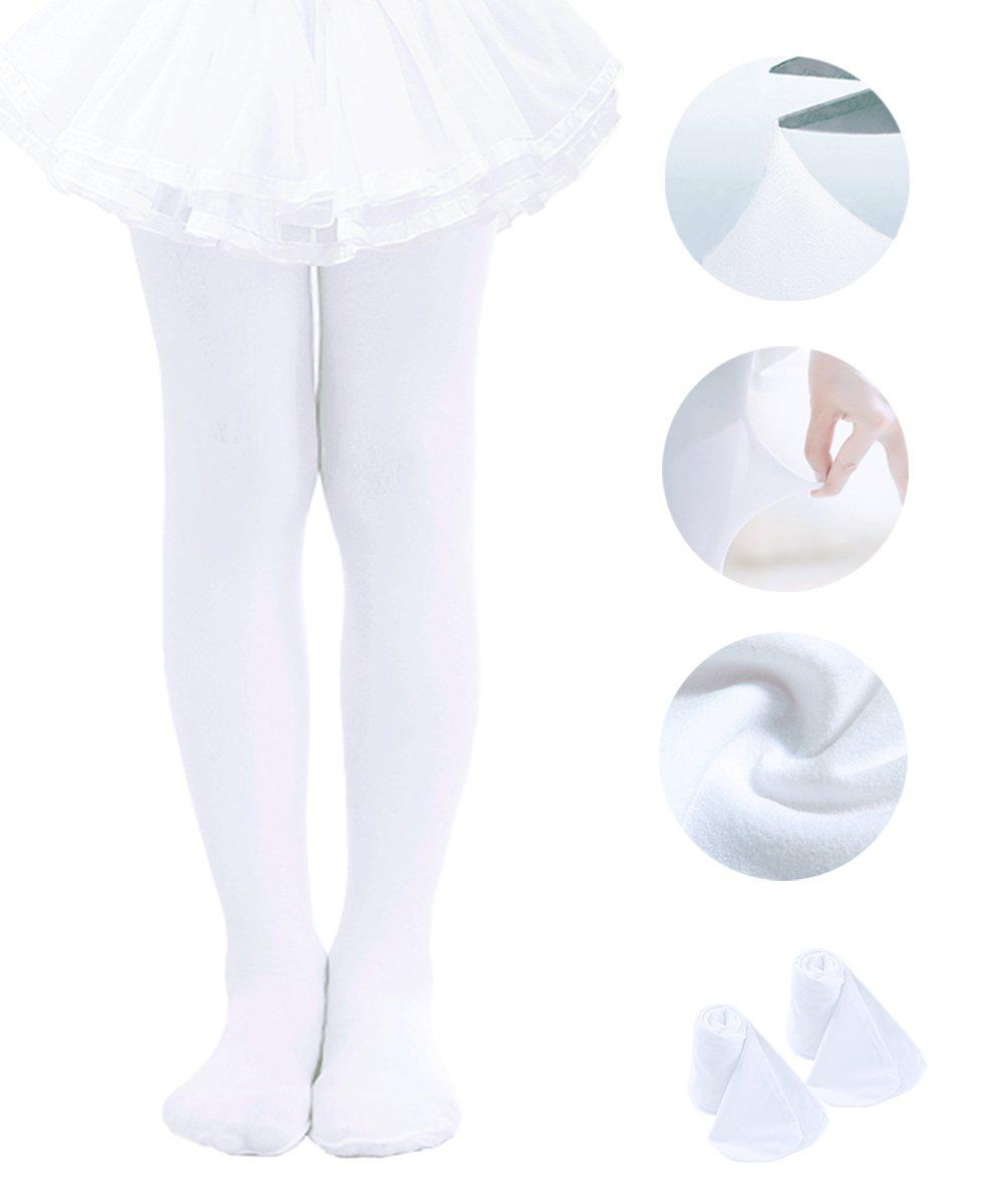 Ballet Tights For Girls Toddler Tights Ballerina Dance Stockings White-2pack, Medium 2-4 years