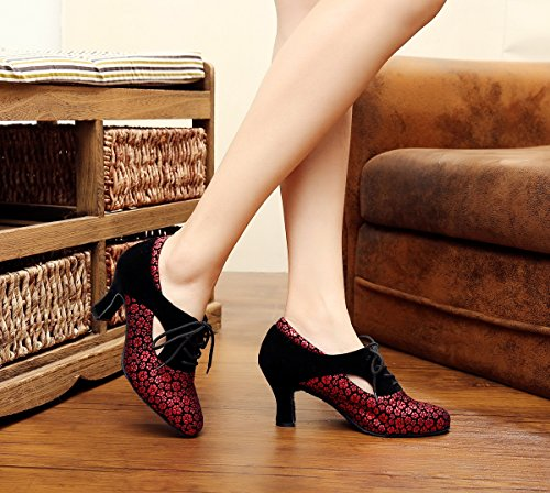 Tango UK Lace Salsa Red 5 Latin Synthetic Pumps 5 Ladies MINITOO up QJ7046 Dance aqg44w8