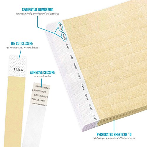 "Gold 3/4"" Tyvek Wristbands - 500 Pack Paper Wristbands For Events Photo #4"