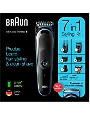 Braun MGK5245 All-in-one Trimmer 7-in-1 Rechargeable Beard Trimmer, Hair Clipper and Detail Trimmer with Gillette ProGlide Razor, Black & Blue - Pack of 1