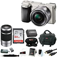 Sony a6000 Mirrorless Camera with 16-50mm Lens (Silver) with E 55-210mm Lens