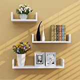 Cheap Set of 3 Floating U Shape Shelves for Storage Display Shelf (white)