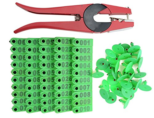 WGCD WMYCONGCONG 1-100 Number Plastic Livestock Ear Tag Animal Tag Green and 1 Pcs Ear Tag Applicator for Goat Sheep (Green)