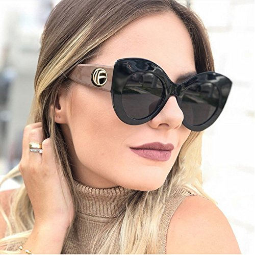 de Color Ojos Verano Ojos Gu Matching de de para Vacaciones Negro UV Playa Gato la Animal Color Grandes Sol Classic Peggy Protección Print para Mujeres de Gafas Conducción 8SIBqId