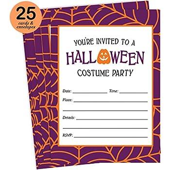 Amazon.com: 50 Black Halloween Pumpkin Invitations, Kids or Adults ...