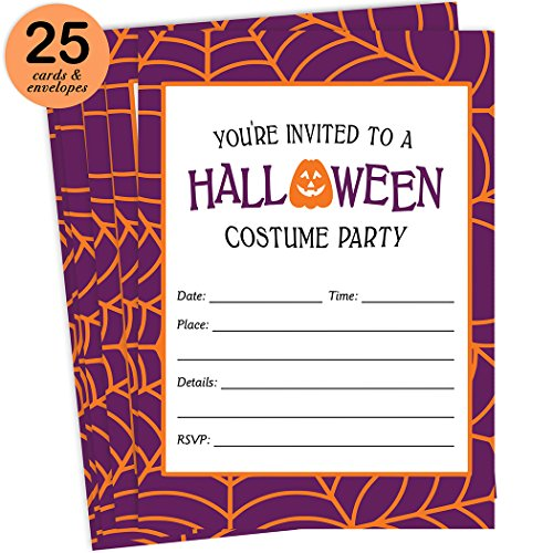 Costumes About Halloween History (Halloween Costume Party Invites & Envelopes ( Pack of 25 ) Fun Dress Up Party Large Blank 5x7